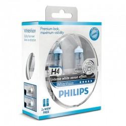 סט נורות - Philips WhiteVision H4 אפקט קסנון  צבע לבן  4300K